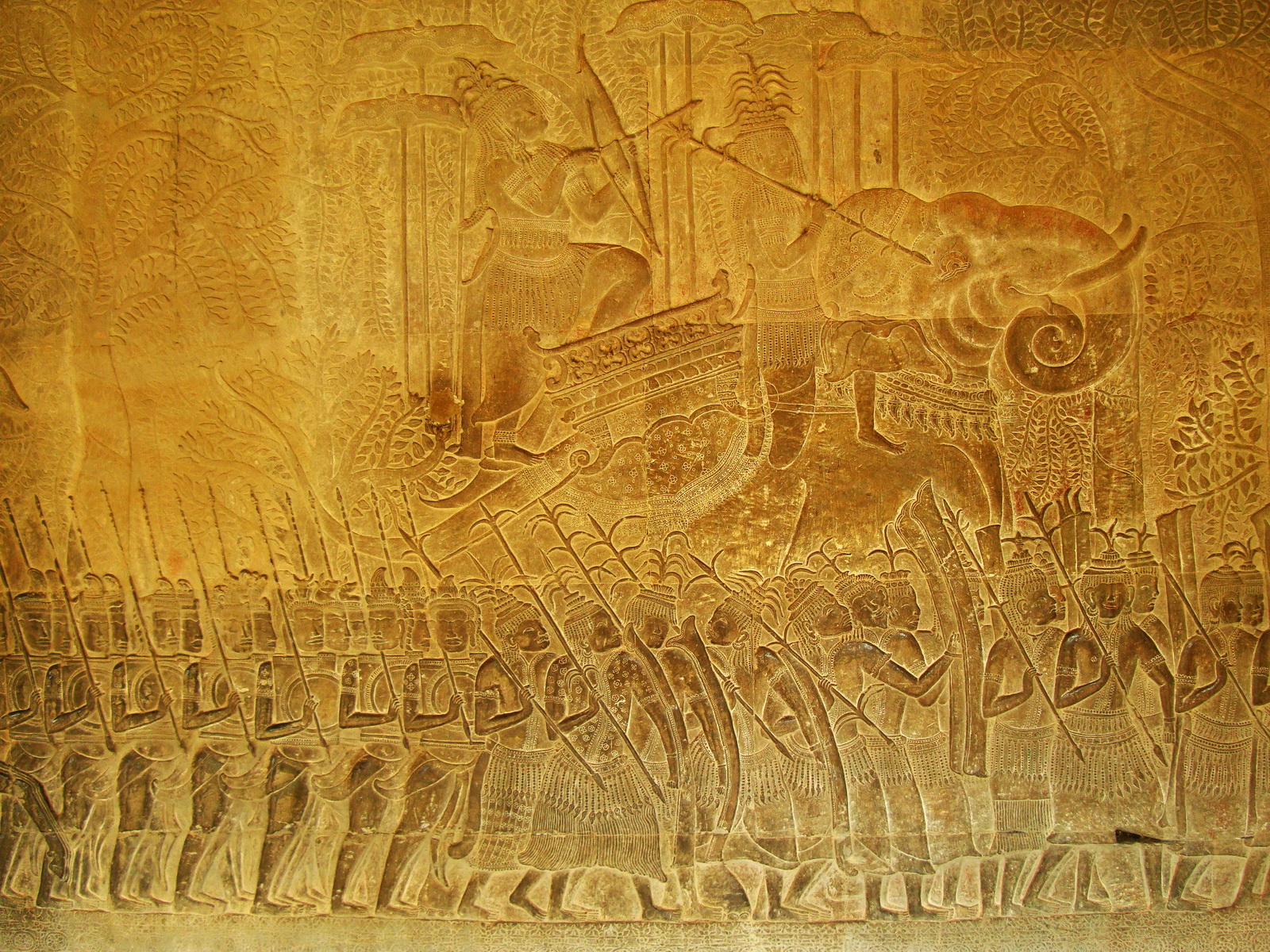Angkor Wat Bas relief S Gallery W Wing Historic Procession 110