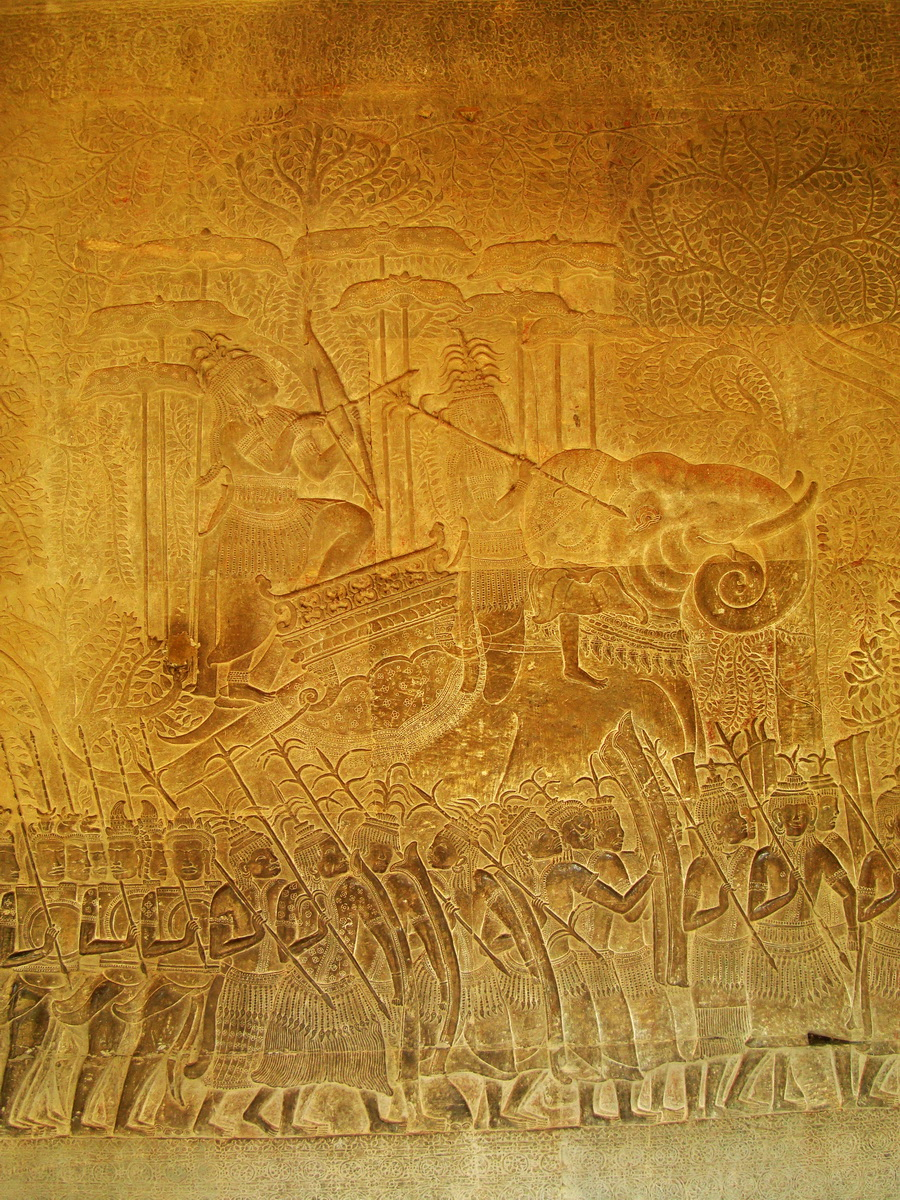 Angkor Wat Bas relief S Gallery W Wing Historic Procession 111