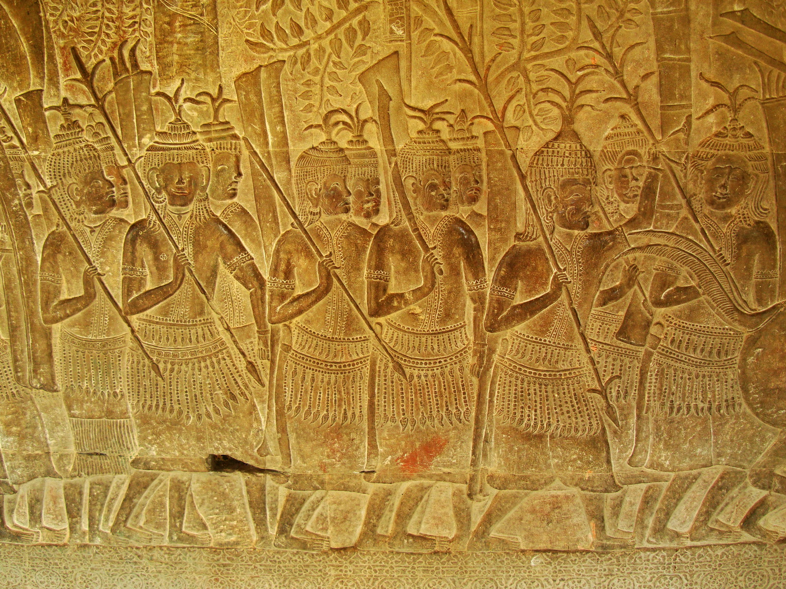 Angkor Wat Bas relief S Gallery W Wing Historic Procession 112