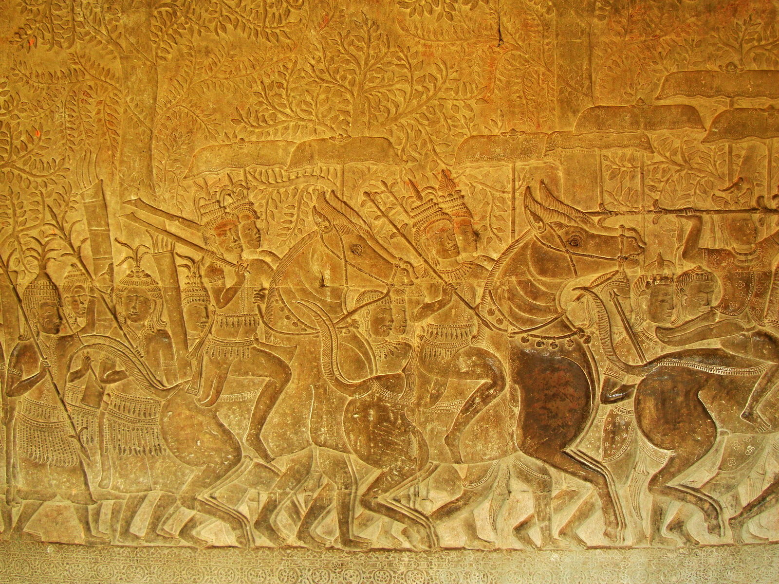 Angkor Wat Bas relief S Gallery W Wing Historic Procession 113