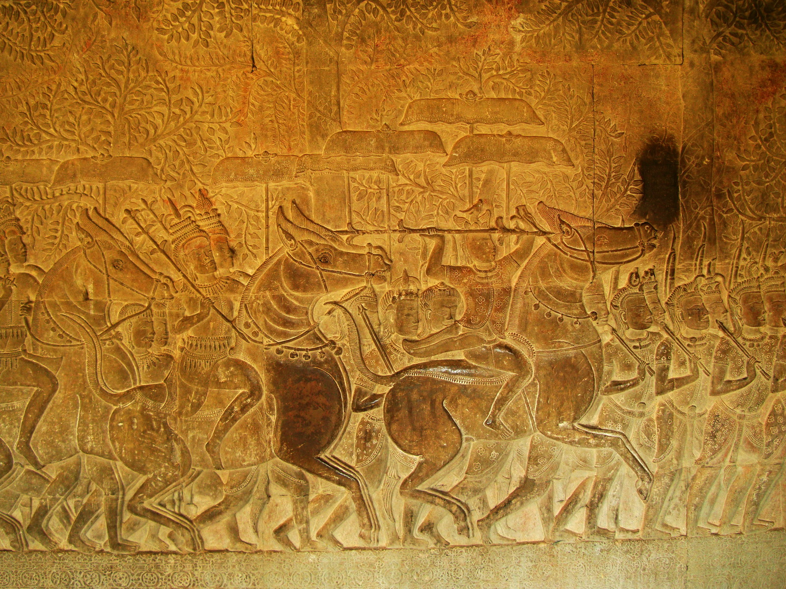 Angkor Wat Bas relief S Gallery W Wing Historic Procession 114