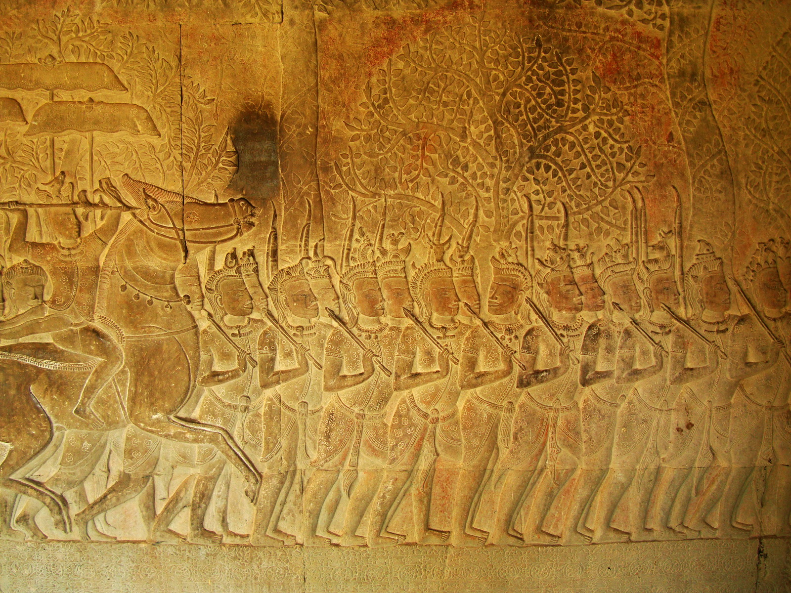 Angkor Wat Bas relief S Gallery W Wing Historic Procession 115