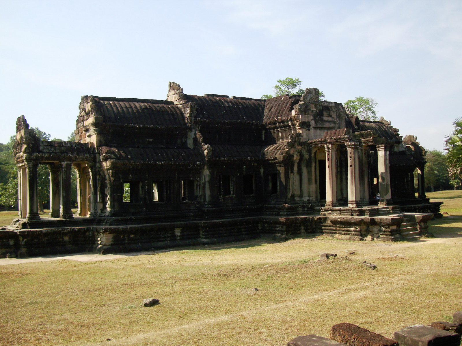 Angkor Wat Khmer architecture external library NW corner 01