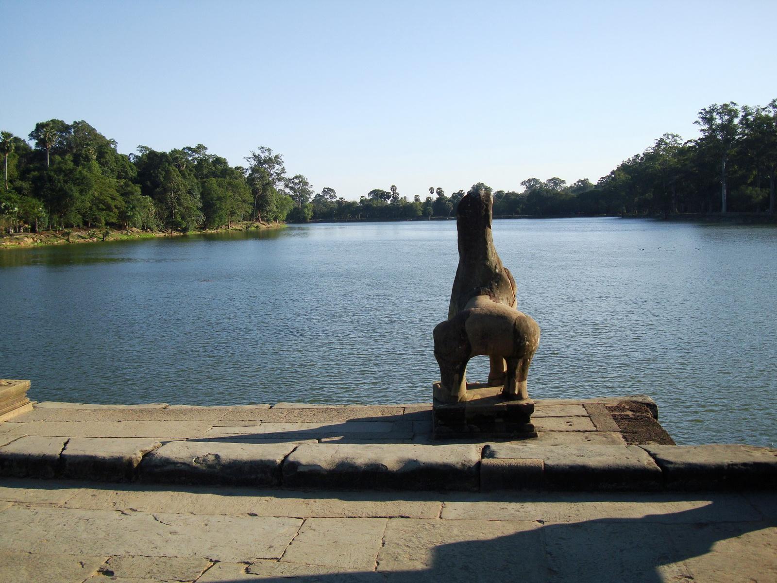Angkor Wat approaches western moat bridge lion Siem Reap 01