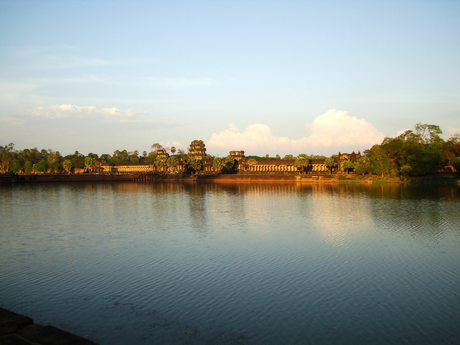 Angkor Wat approaches western moat bridge looking E Siem Reap 02