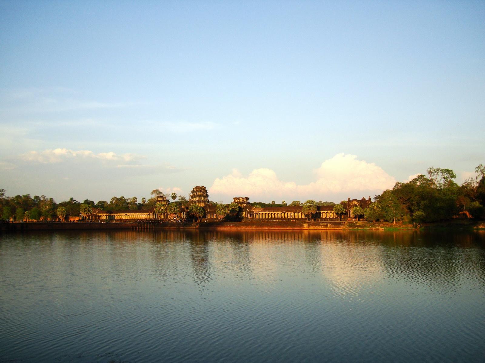 Angkor Wat approaches western moat bridge looking E Siem Reap 03