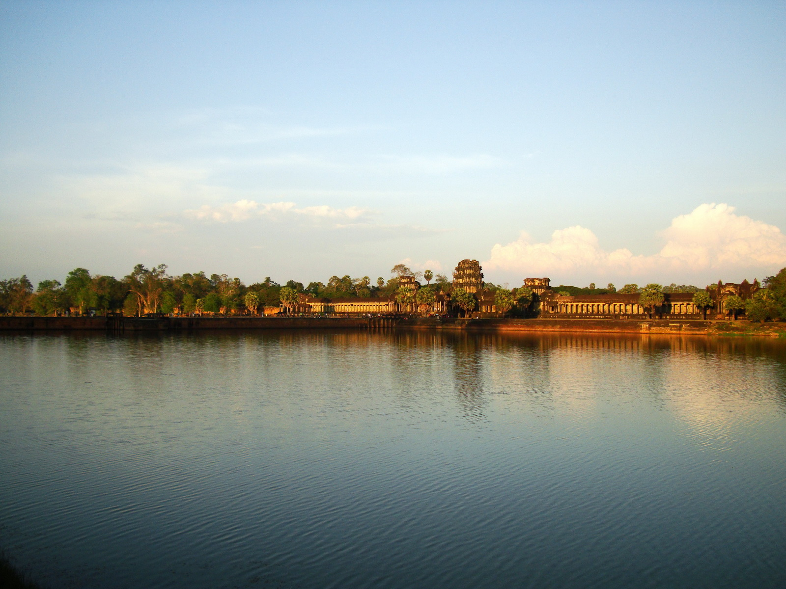 Angkor Wat approaches western moat bridge looking E Siem Reap 04