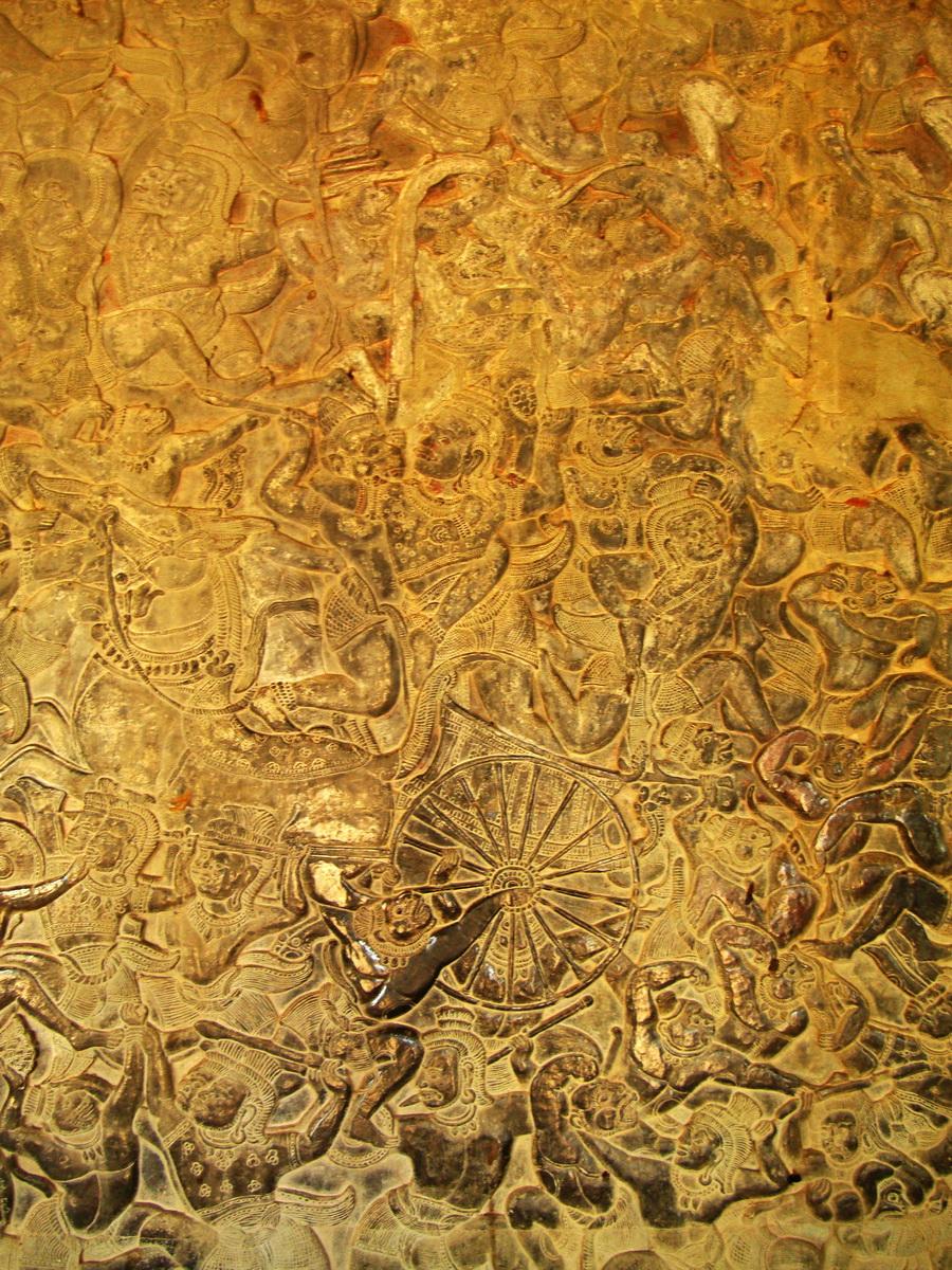Angkor Wat Bas relief W Gallery N Wing Battle of Lanka 05
