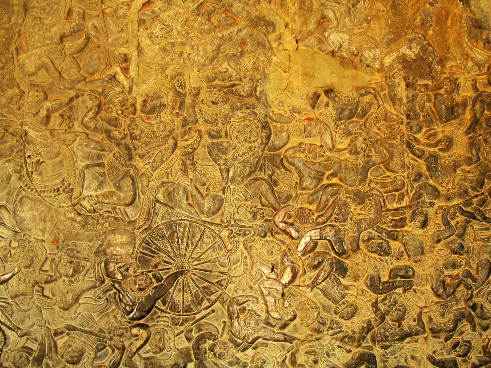 Angkor Wat Bas relief W Gallery N Wing Battle of Lanka 06