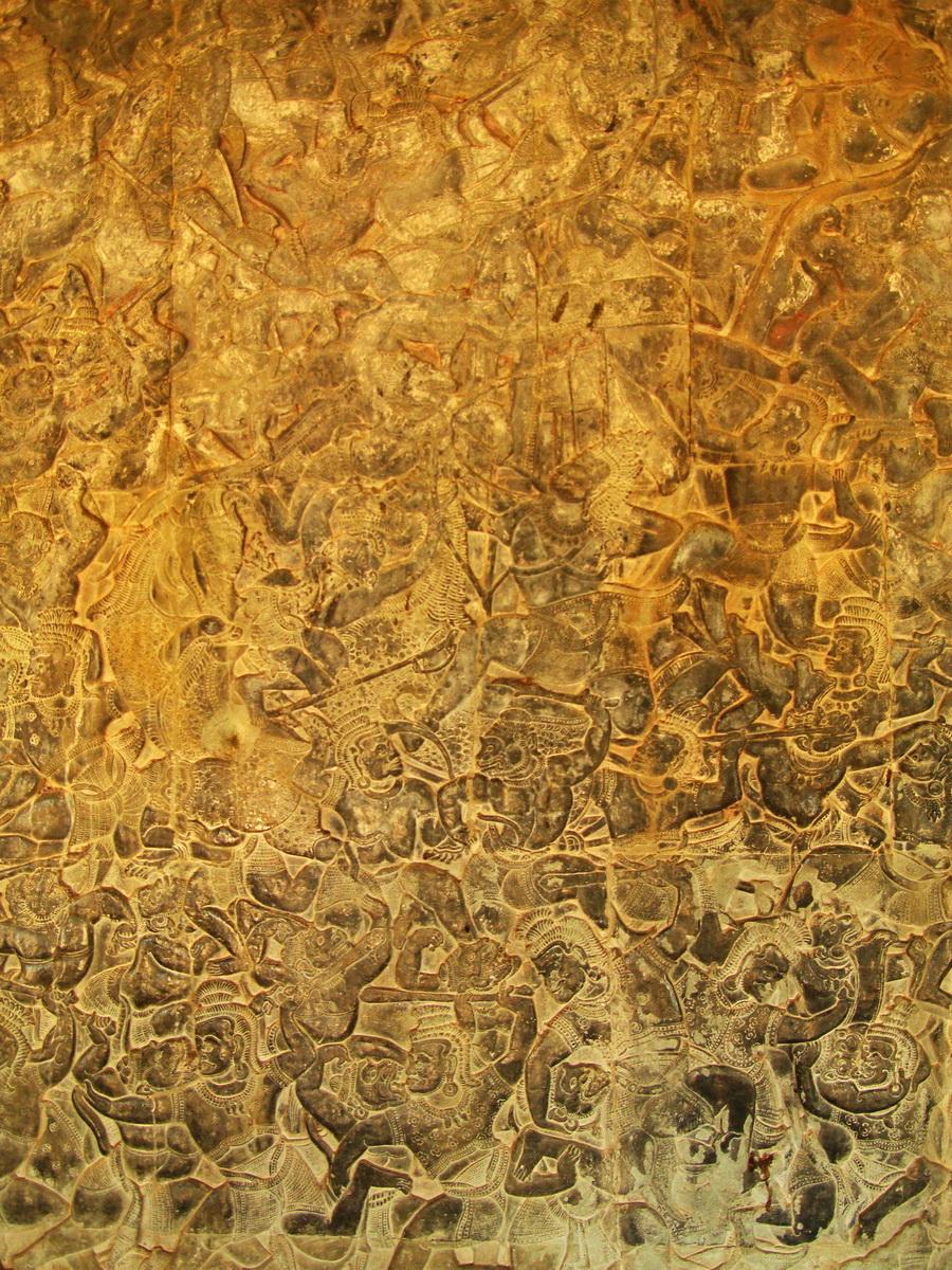 Angkor Wat Bas relief W Gallery N Wing Battle of Lanka 07