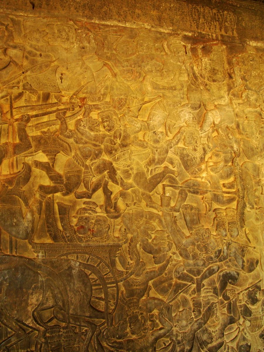 Angkor Wat Bas relief W Gallery N Wing Battle of Lanka 11