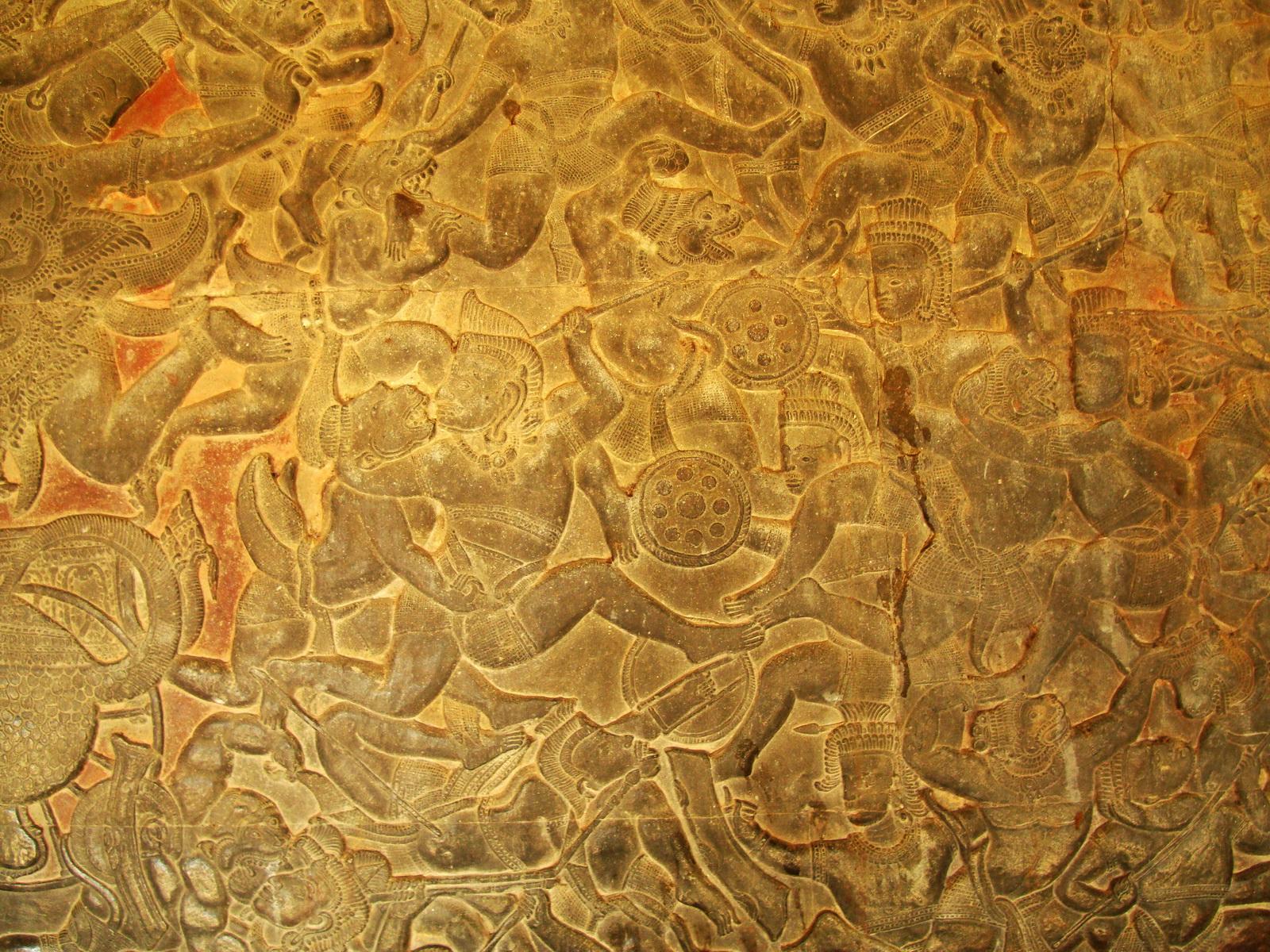 Angkor Wat Bas relief W Gallery N Wing Battle of Lanka 15