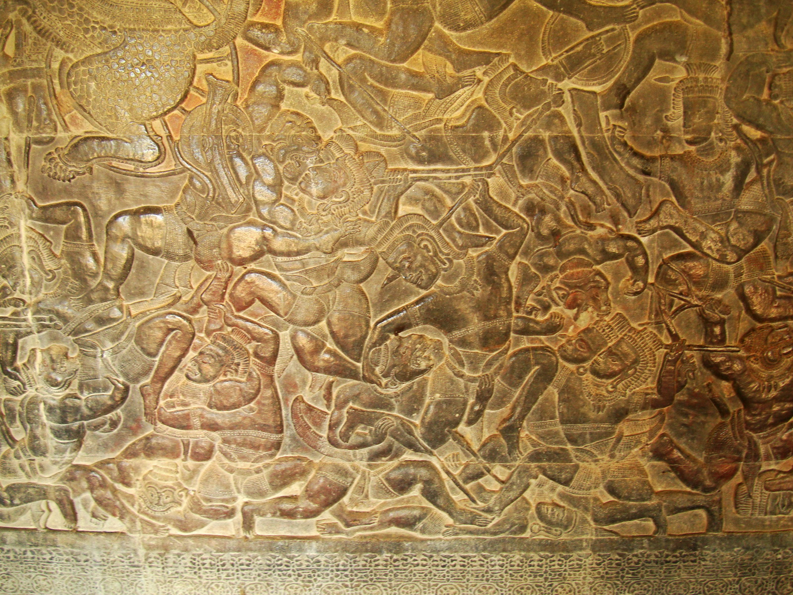 Angkor Wat Bas relief W Gallery N Wing Battle of Lanka 16