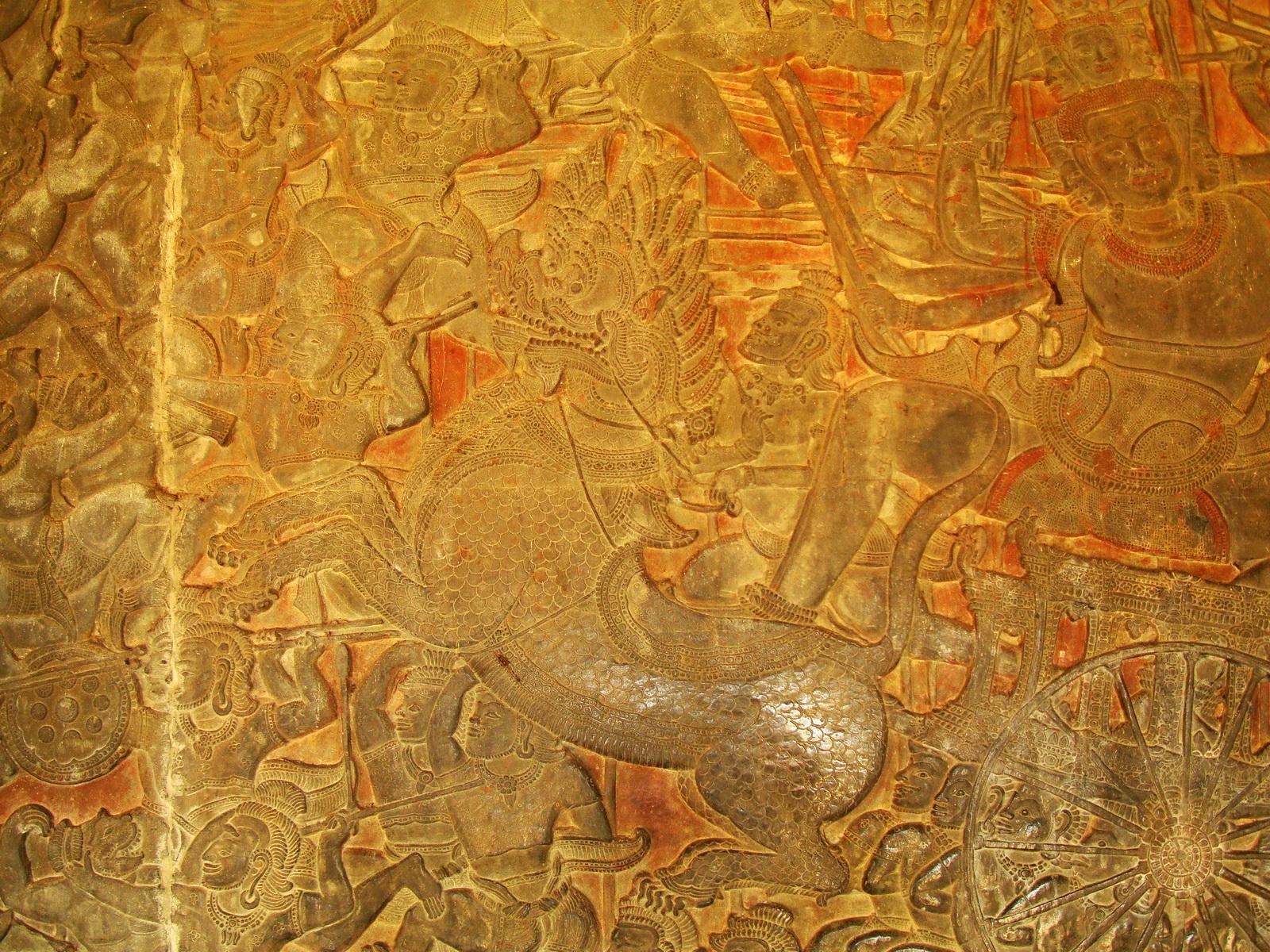 Angkor Wat Bas relief W Gallery N Wing Battle of Lanka 21