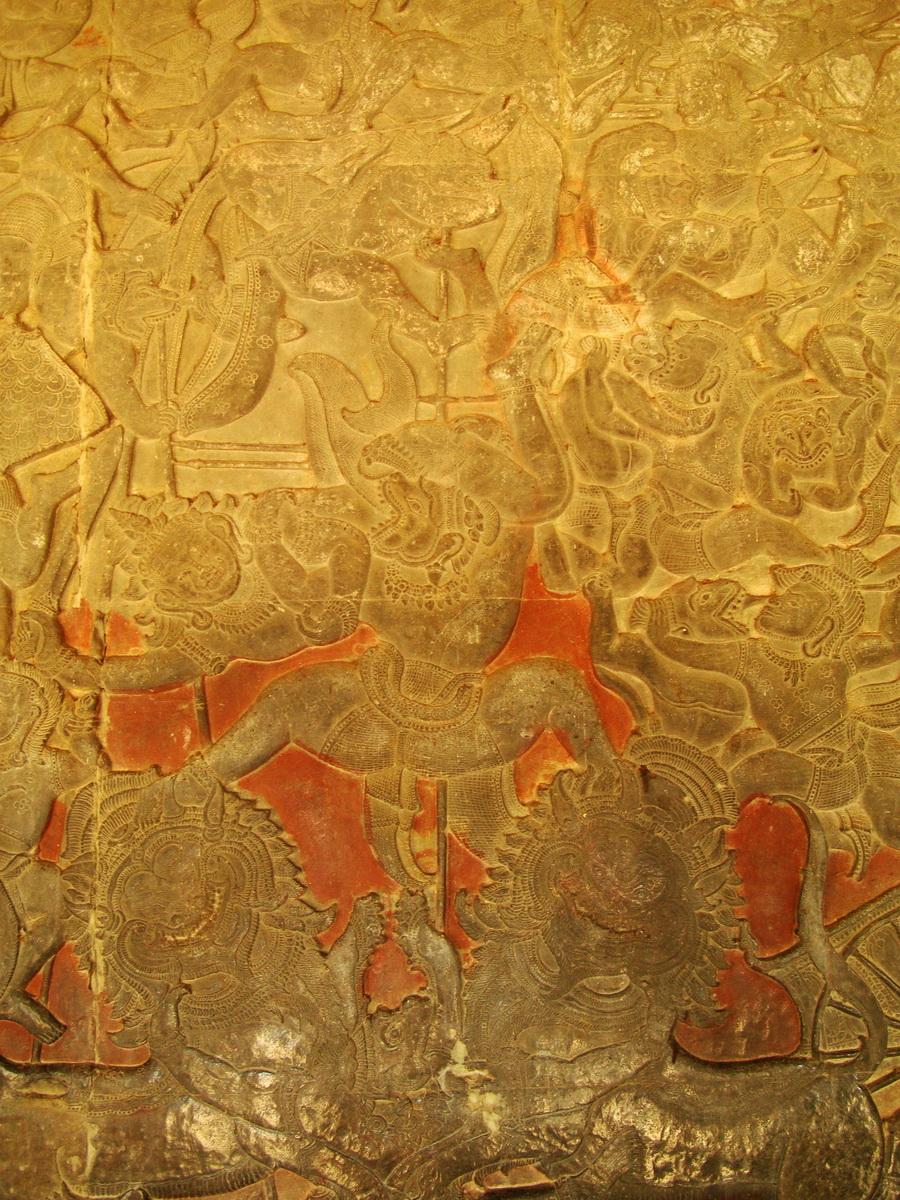 Angkor Wat Bas relief W Gallery N Wing Battle of Lanka 30