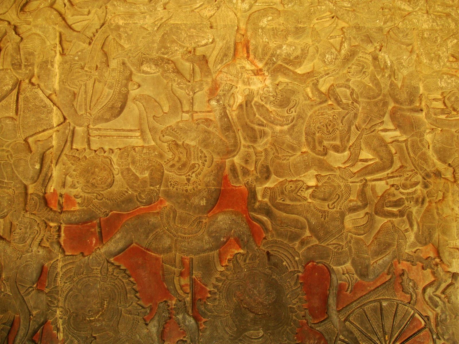 Angkor Wat Bas relief W Gallery N Wing Battle of Lanka 31