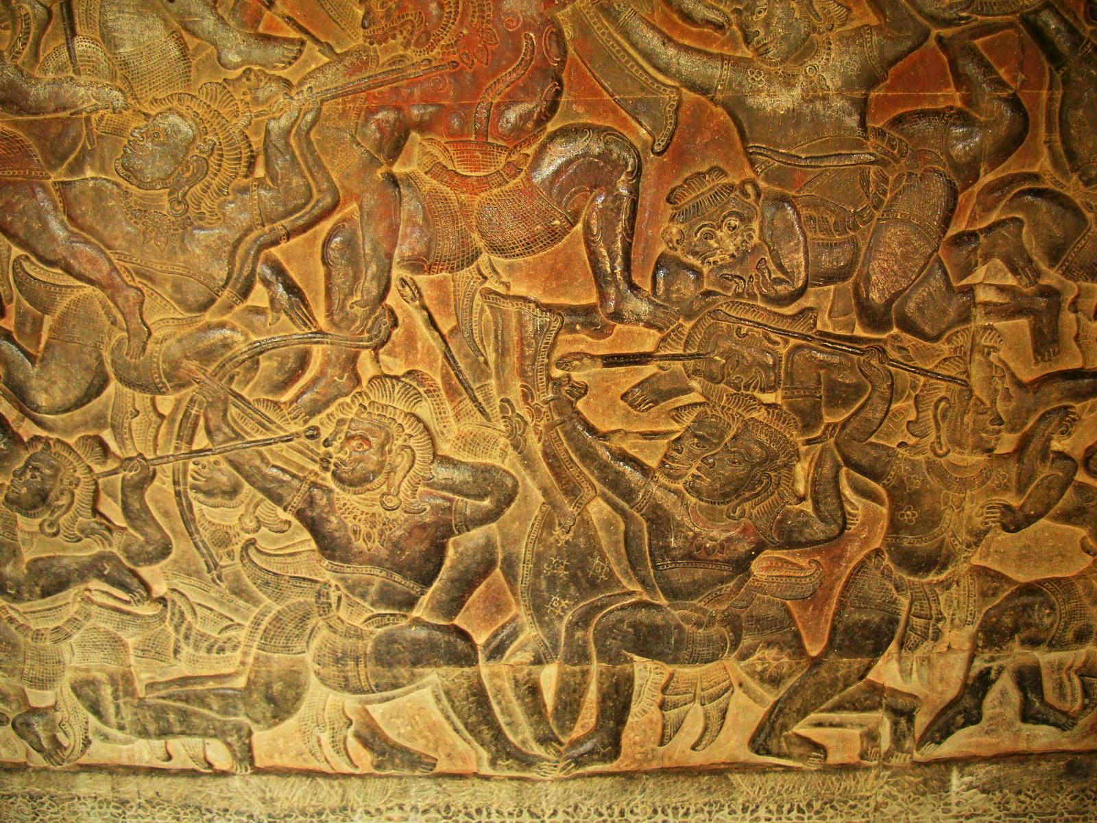 Angkor Wat Bas relief W Gallery N Wing Battle of Lanka 32