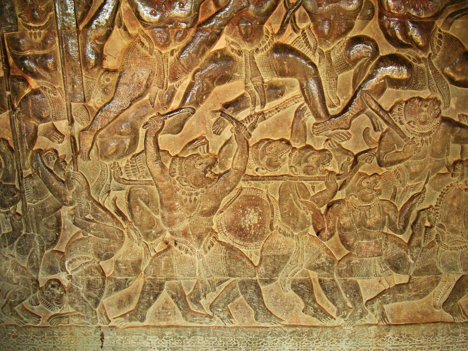 Angkor Wat Bas relief W Gallery N Wing Battle of Lanka 35