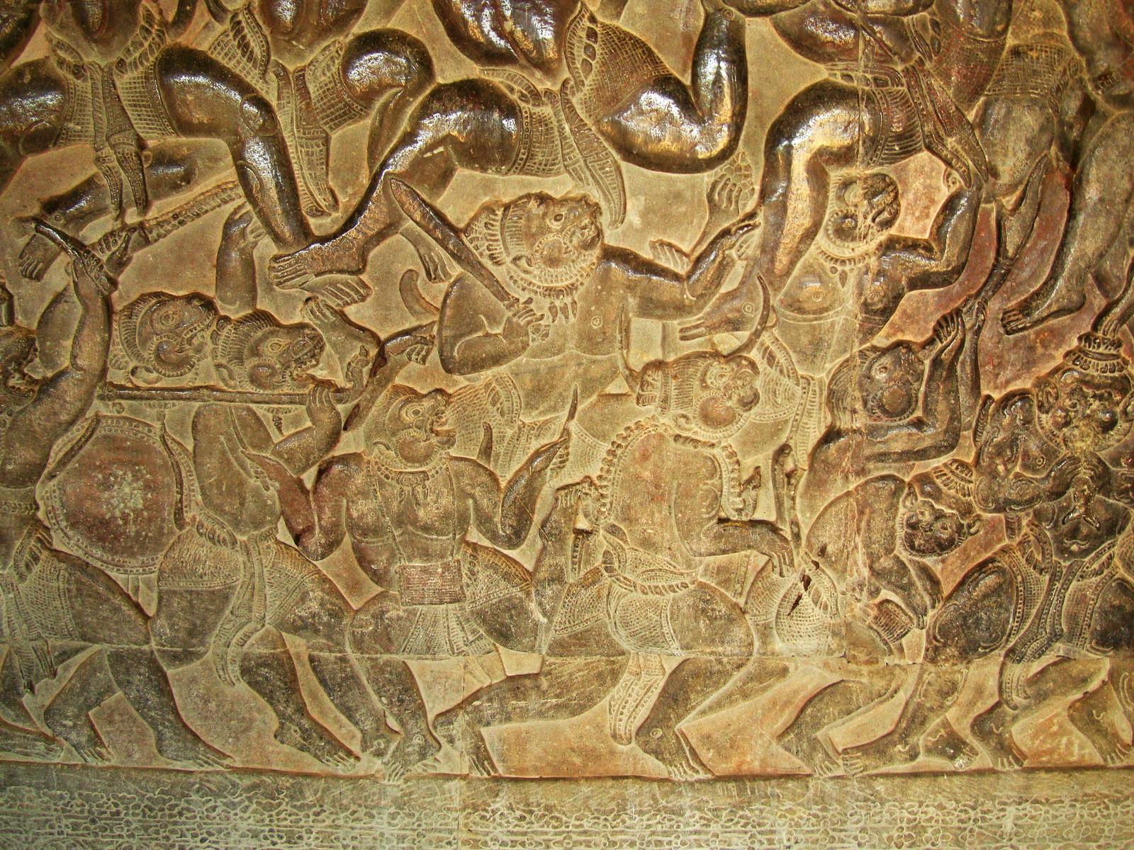 Angkor Wat Bas relief W Gallery N Wing Battle of Lanka 36