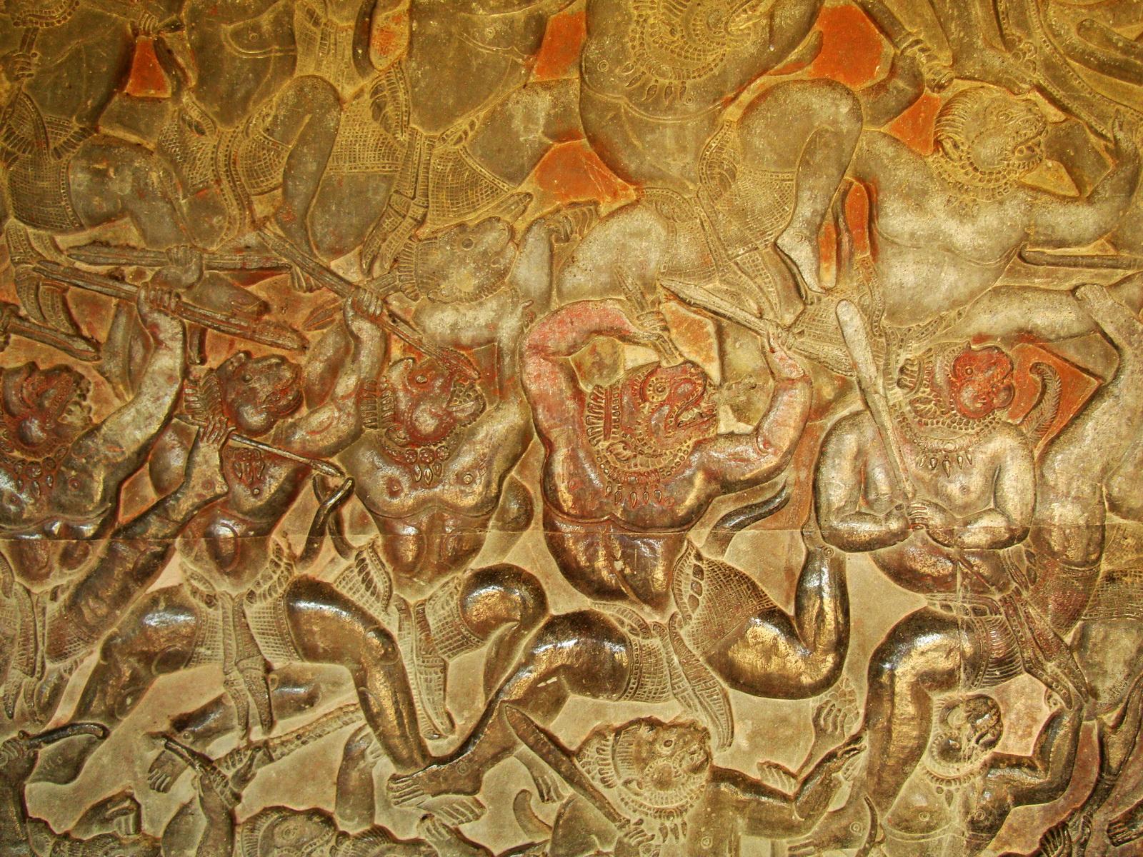 Angkor Wat Bas relief W Gallery N Wing Battle of Lanka 38