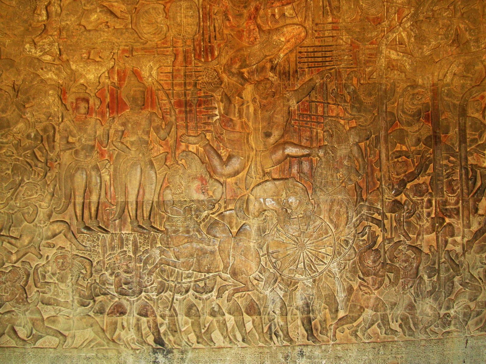 Angkor Wat Bas relief W Gallery N Wing Battle of Lanka 42