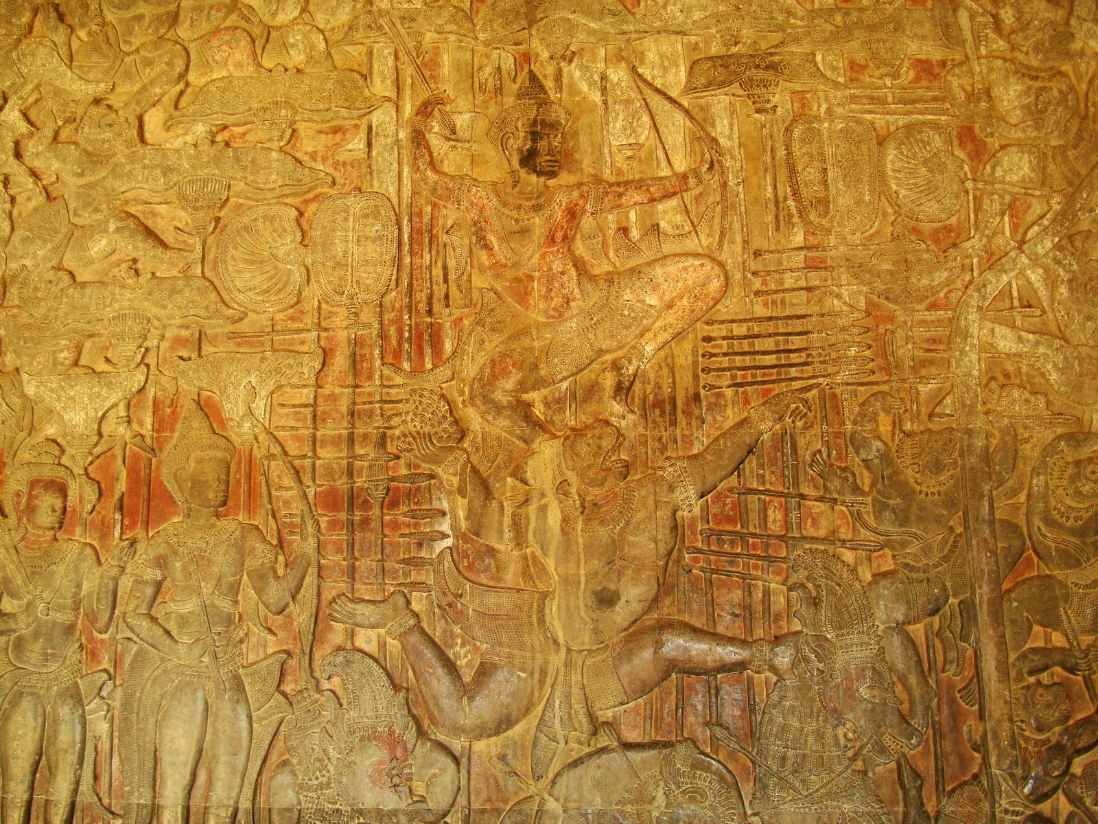Angkor Wat Bas relief W Gallery N Wing Battle of Lanka 44