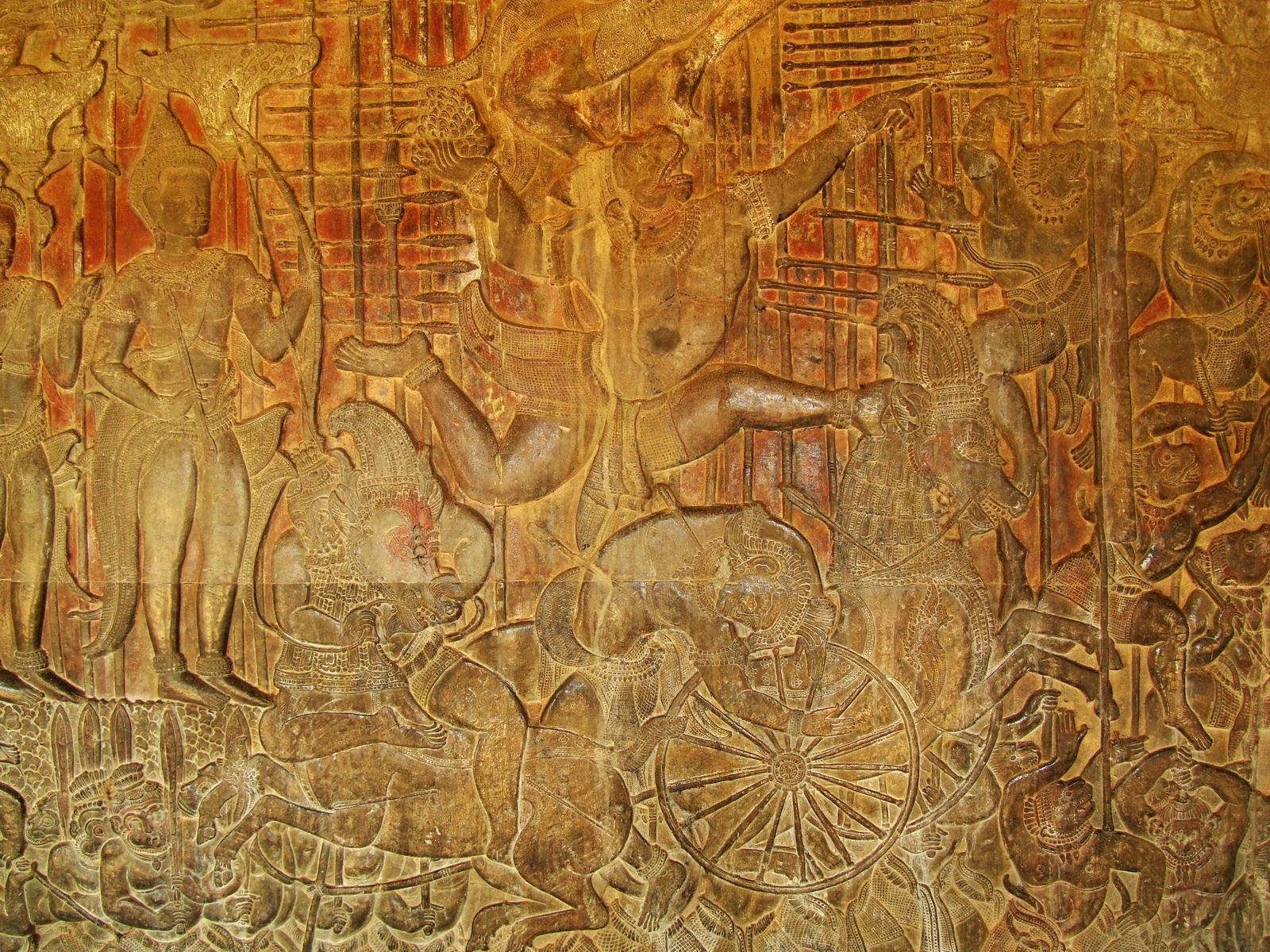 Angkor Wat Bas relief W Gallery N Wing Battle of Lanka 45