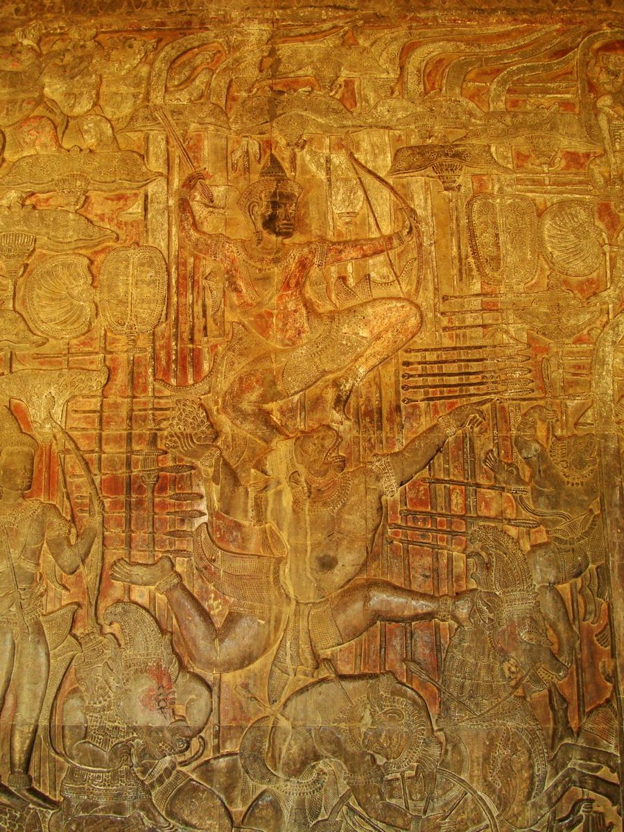 Angkor Wat Bas relief W Gallery N Wing Battle of Lanka 46
