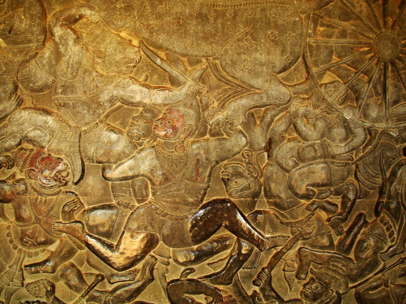 Angkor Wat Bas relief W Gallery N Wing Battle of Lanka 49