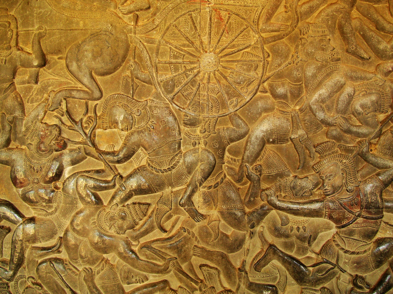 Angkor Wat Bas relief W Gallery N Wing Battle of Lanka 54