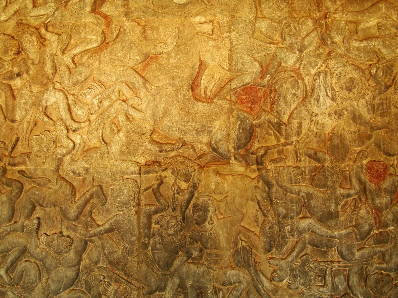 Angkor Wat Bas relief W Gallery N Wing Battle of Lanka 59