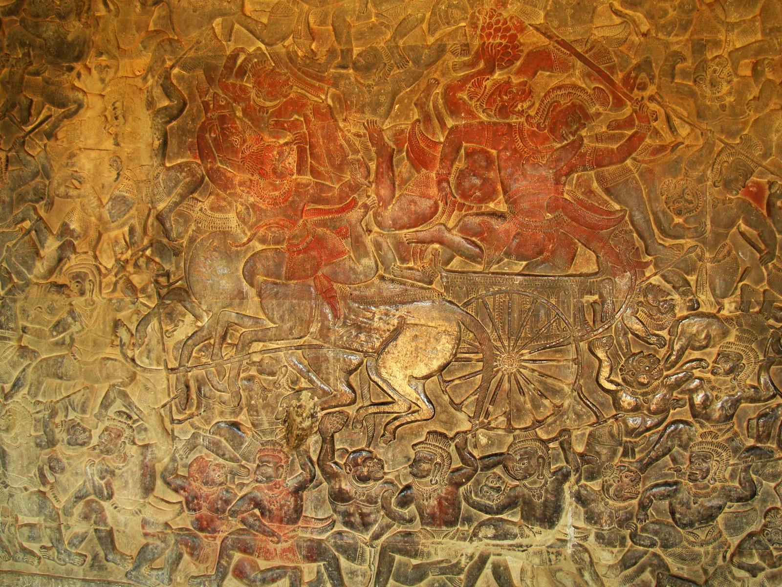 Angkor Wat Bas relief W Gallery N Wing Battle of Lanka 63