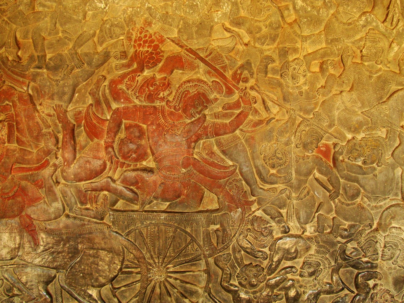 Angkor Wat Bas relief W Gallery N Wing Battle of Lanka 65