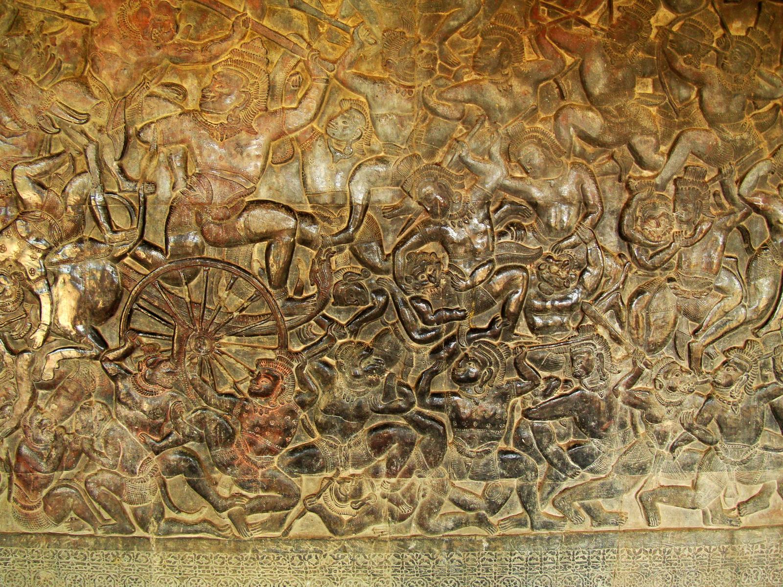 Angkor Wat Bas relief W Gallery N Wing Battle of Lanka 69