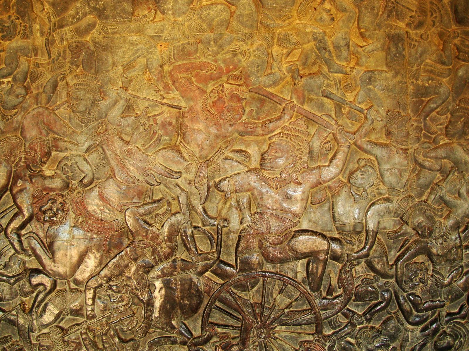 Angkor Wat Bas relief W Gallery N Wing Battle of Lanka 71