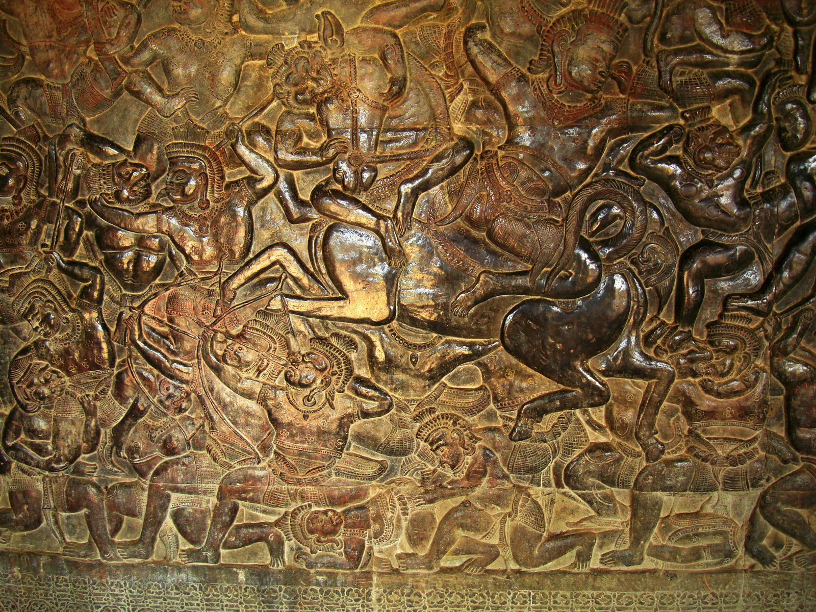 Angkor Wat Bas relief W Gallery N Wing Battle of Lanka 73