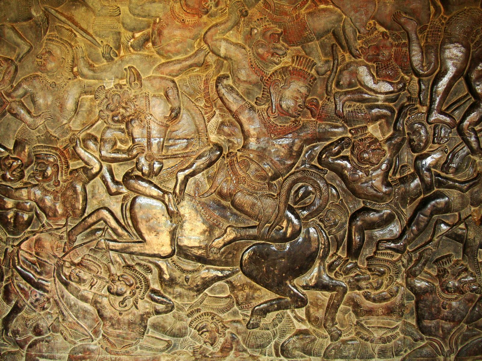 Angkor Wat Bas relief W Gallery N Wing Battle of Lanka 74