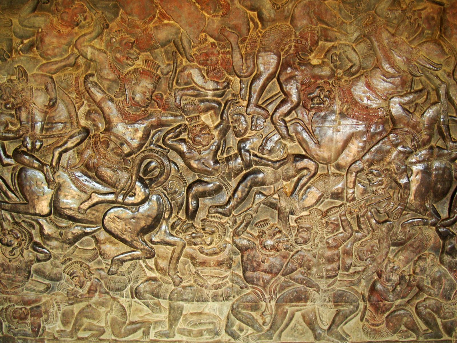 Angkor Wat Bas relief W Gallery N Wing Battle of Lanka 75