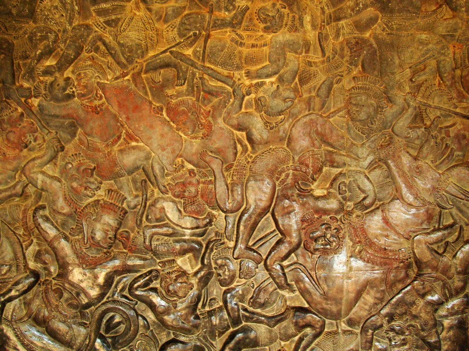 Angkor Wat Bas relief W Gallery N Wing Battle of Lanka 76