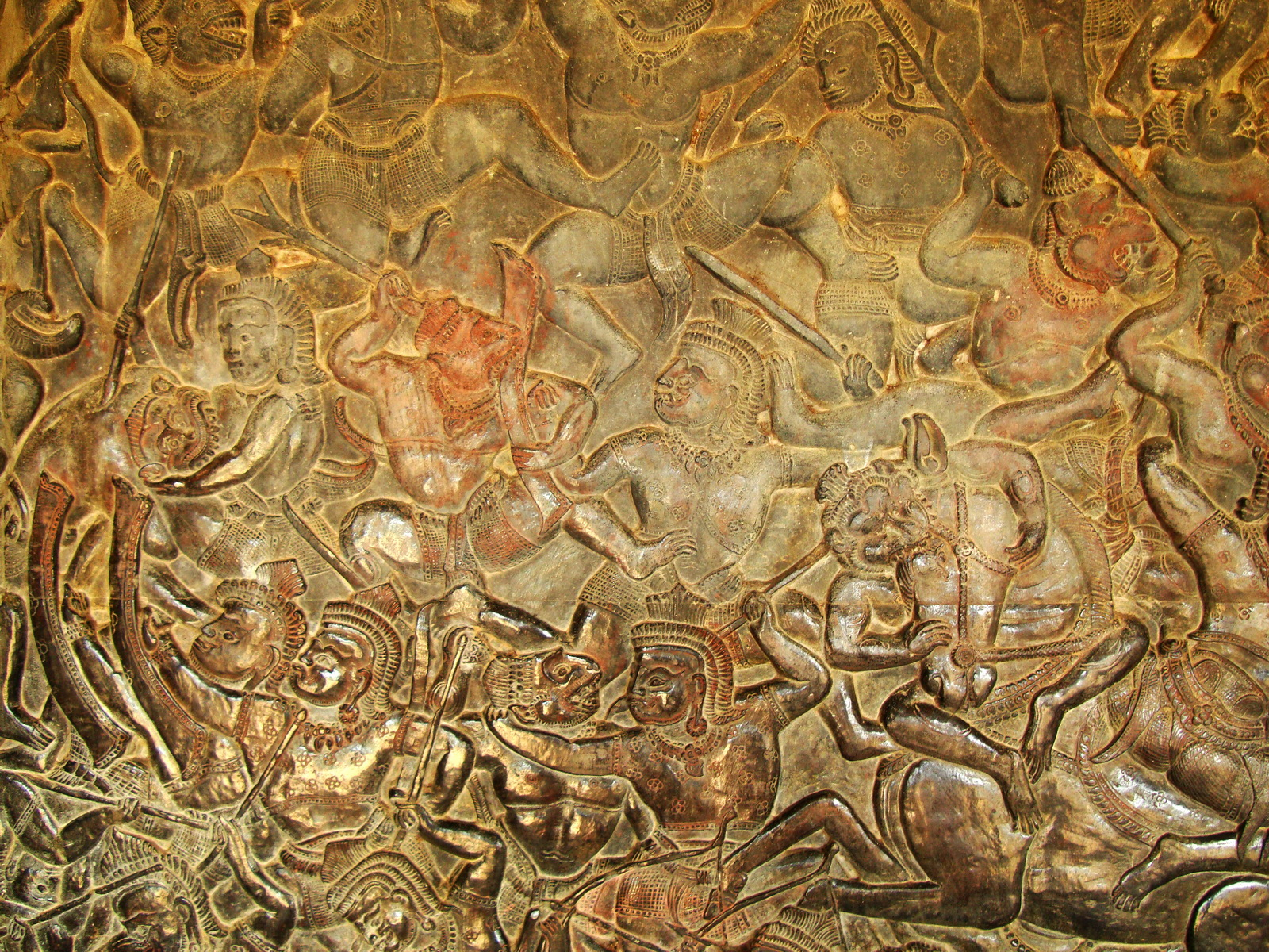 Angkor Wat Bas relief W Gallery N Wing Battle of Lanka 78