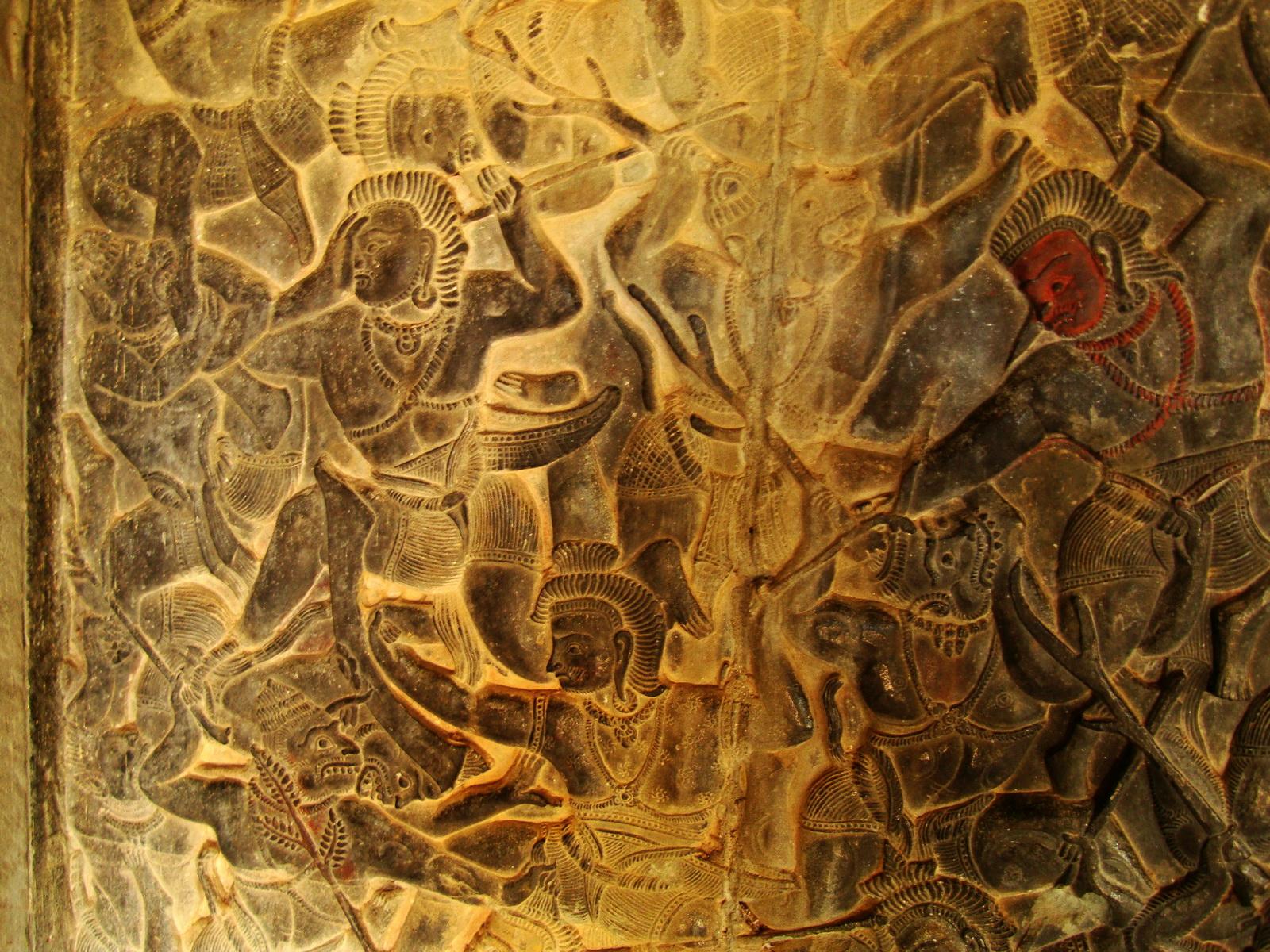 Angkor Wat Bas relief W Gallery N Wing Battle of Lanka 79