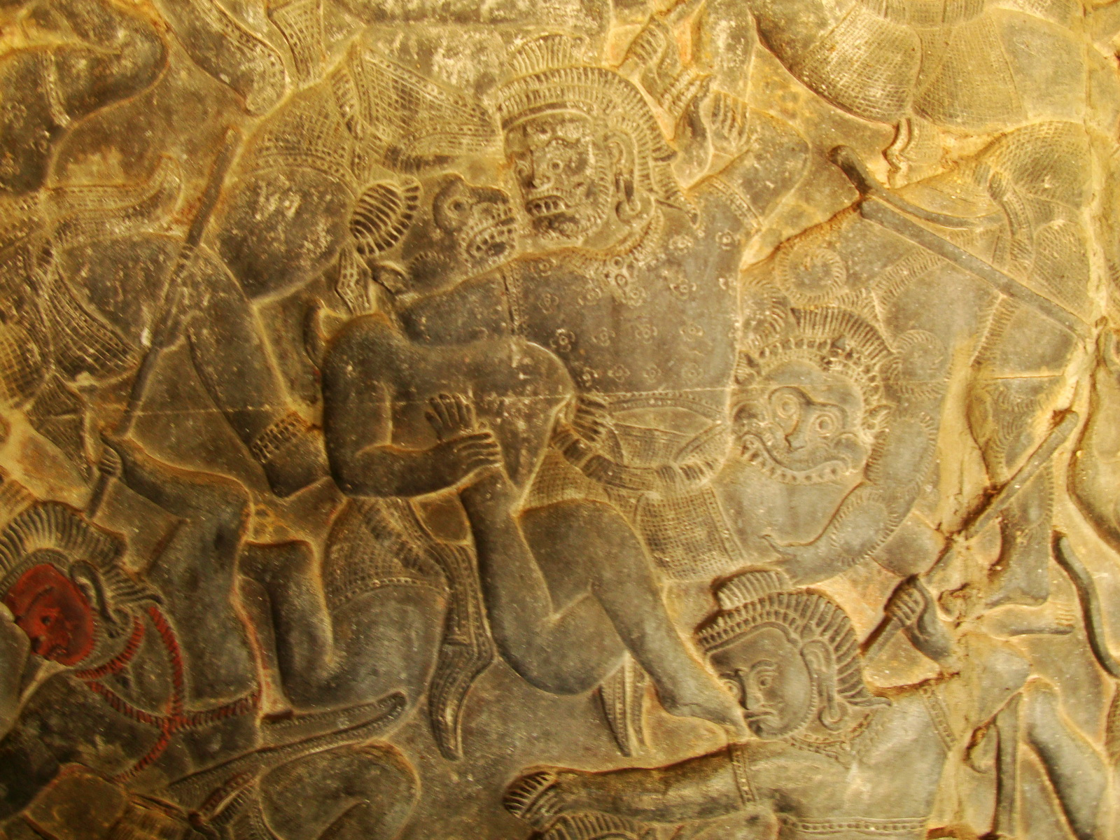 Angkor Wat Bas relief W Gallery N Wing Battle of Lanka 80