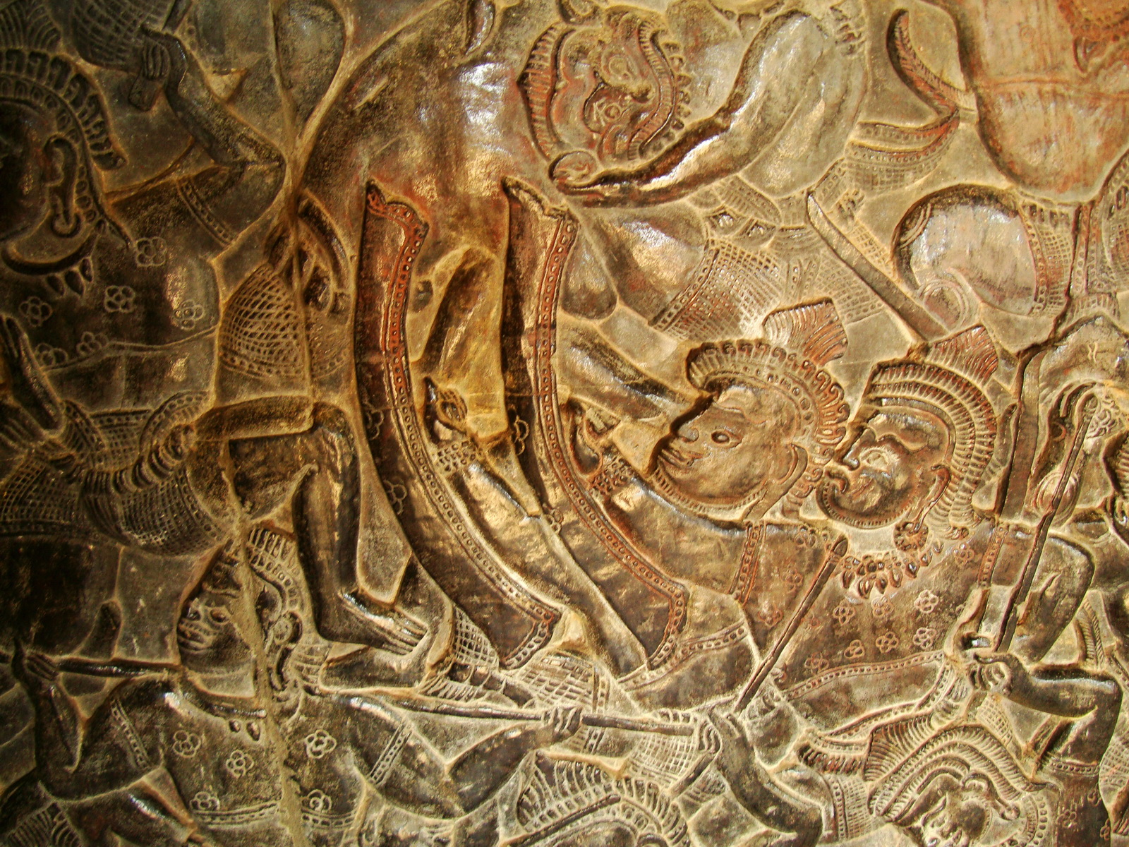 Angkor Wat Bas relief W Gallery N Wing Battle of Lanka 81