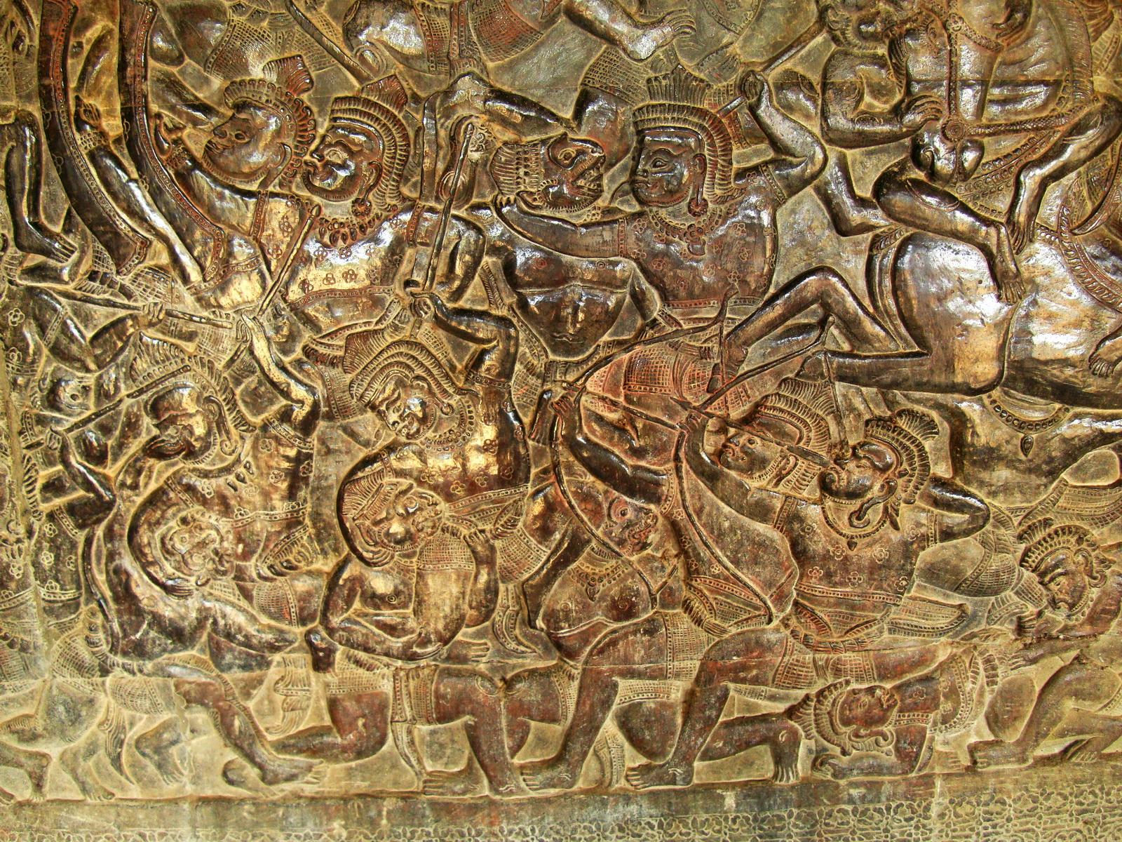 Angkor Wat Bas relief W Gallery N Wing Battle of Lanka 82