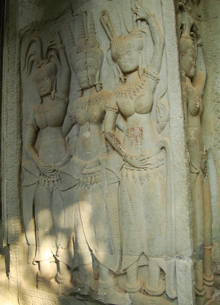 Angkor Wat Khmer architecture bas relief devatas Siem Reap 01