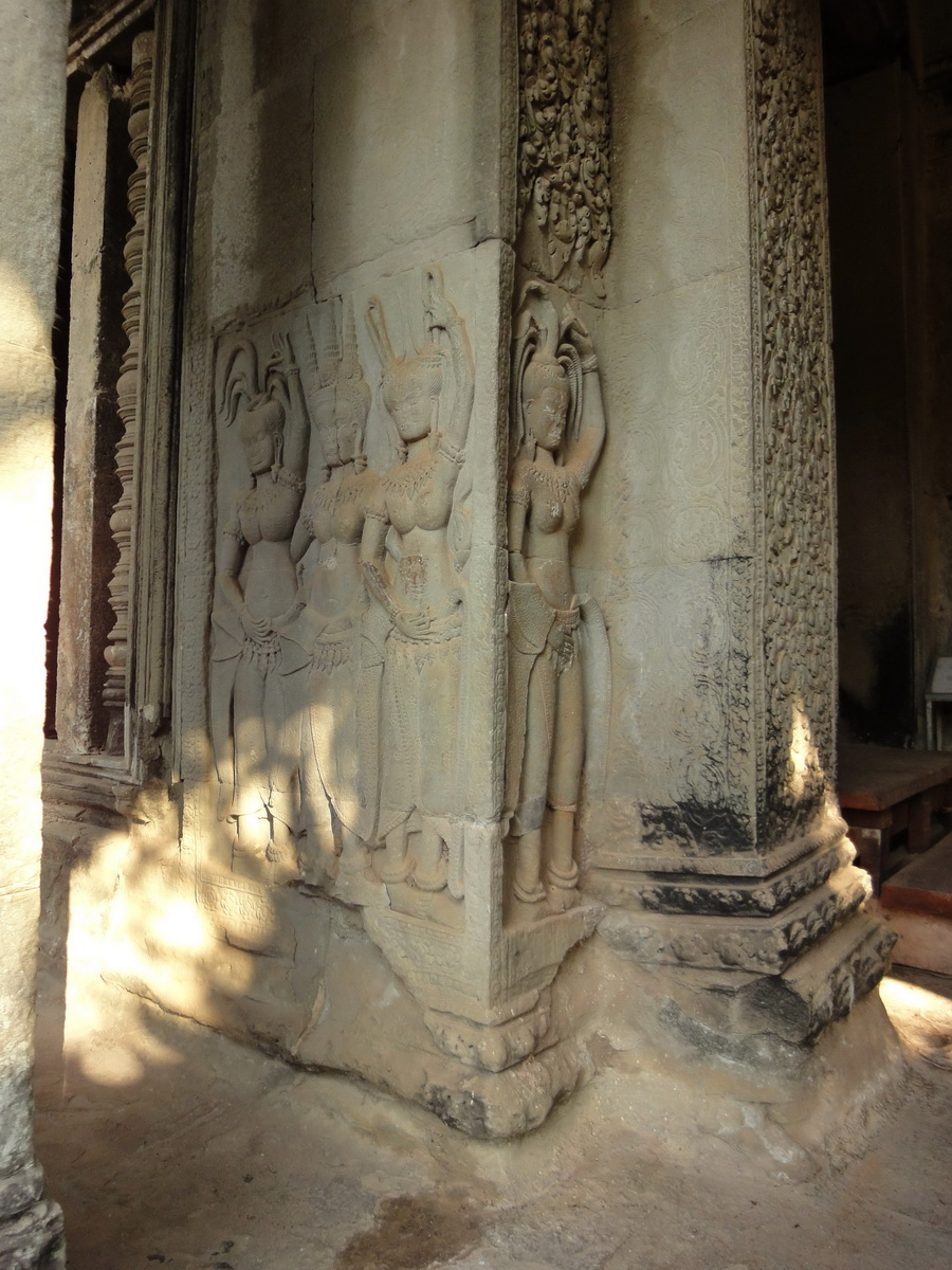 Angkor Wat Khmer architecture bas relief devatas Siem Reap 02