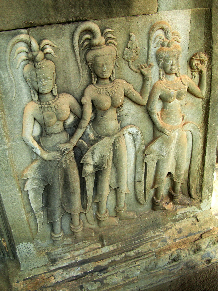 Angkor Wat Khmer architecture bas relief devatas Siem Reap 04