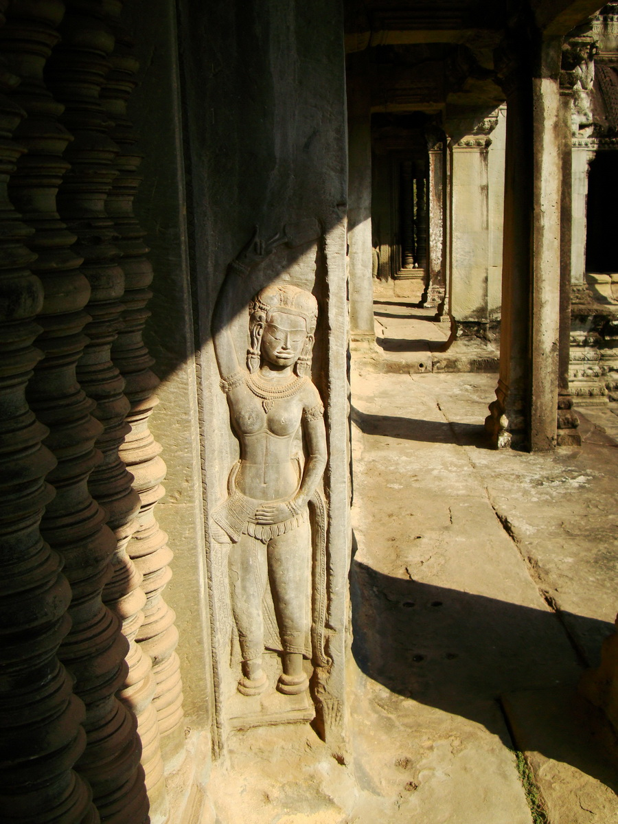 Angkor Wat Khmer architecture bas relief devatas Siem Reap 05