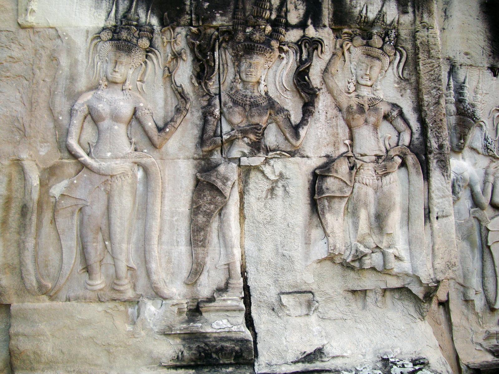 Angkor Wat Khmer architecture bas relief devatas Siem Reap 16
