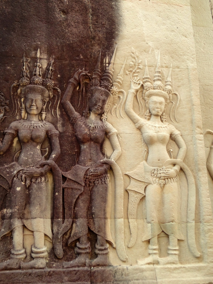 Angkor Wat Khmer architecture bas relief devatas Siem Reap 23